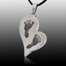 Whimsical Heart Stainless Cremation Print Keepsake
