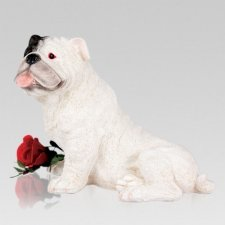 White Bulldog Cremation Urn