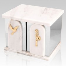 White Cloud Silver Marble Urn for Two
