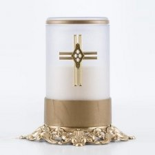 White Cross Ornate Memorial Candle
