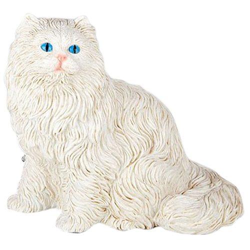 White Longhair Cat Cremation Urn