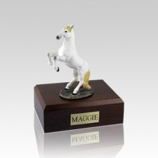 White Rearing Small Horse Cremation Urn