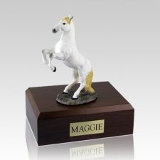 White Rearing X Large Horse Cremation Urn