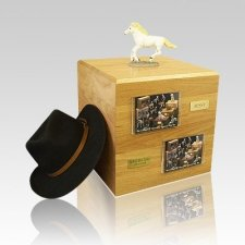 White Running Full Size Horse Urns