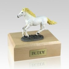White Running Large Horse Cremation Urn