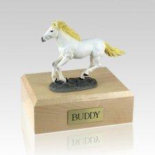 White Running Medium Horse Cremation Urn
