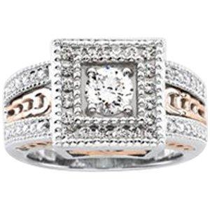 White & Rose Filigree Ring