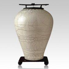 Raku Tall White Companion Cremation Urn