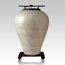 Raku Tall White Cremation Urn