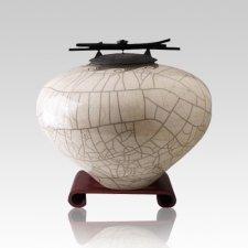 Raku White Medium Cremation Urn