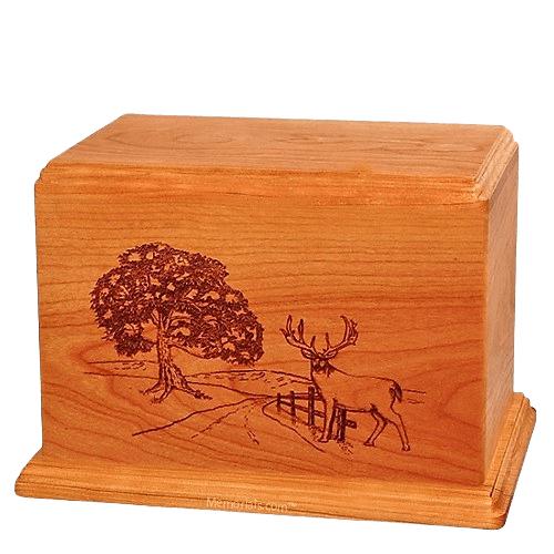 Whitetail Companion Mahogany Wood Urn