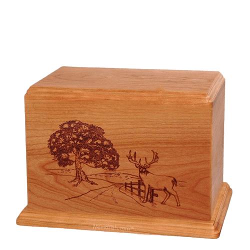 Whitetail Individual Cherry Wood Urn