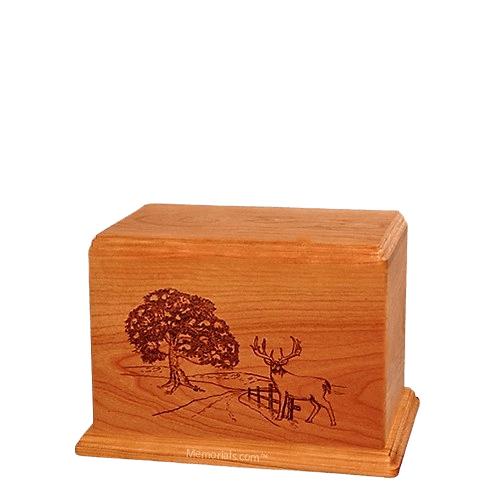 Whitetail Small Mahogany Wood Urn