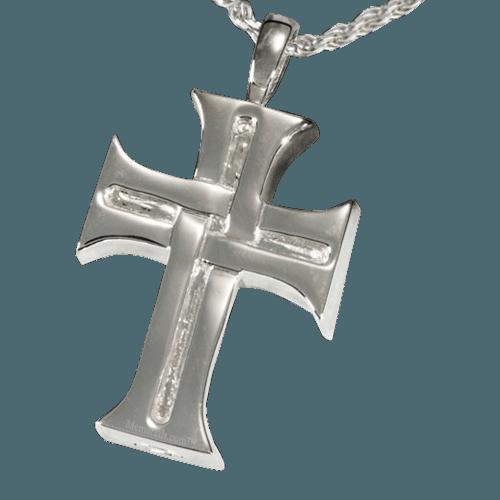 Woven Cross Cremation Pendant III