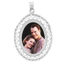 Woven Silver Photo Pendant
