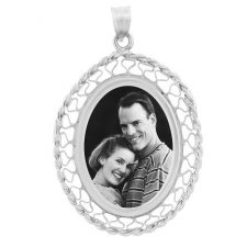 Woven White Gold Etched Pendant