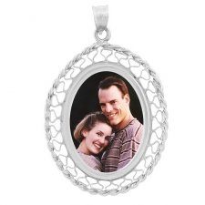 Woven White Gold Photo Pendant