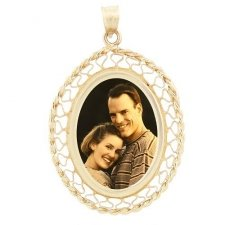 Woven Yellow Gold Etched Pendant