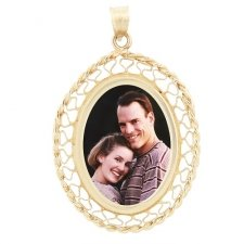 Woven Yellow Gold Photo Pendant