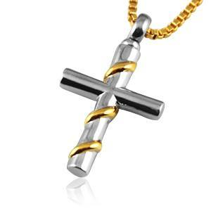 Wrapped Cross Gold Cremation Jewelry
