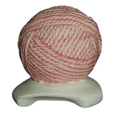 Yarn Ball Pink Cremation Urn