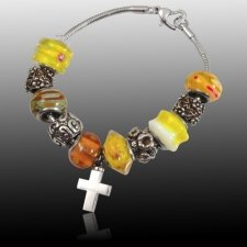 Yellow Cross Cremation Bracelet