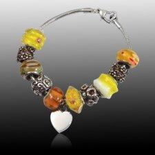 Yellow Heart Cremation Bracelet