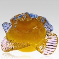 Yellow Rose Glass Pet Urn