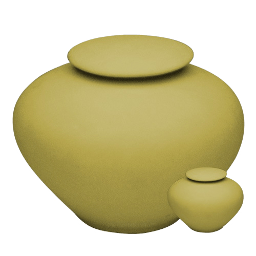 Yellow Silk Porcelain Clay Cremation Urns