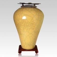 Raku Tall Yellow Companion Cremation Urn
