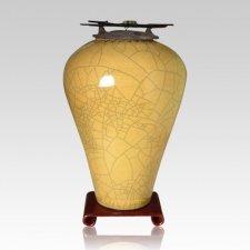 Raku Tall Yellow Cremation Urn