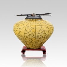 Raku Yellow Small Cremation Urn