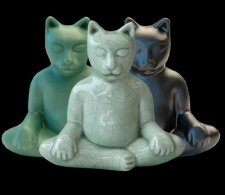 Yoga Cat Cremation Urn