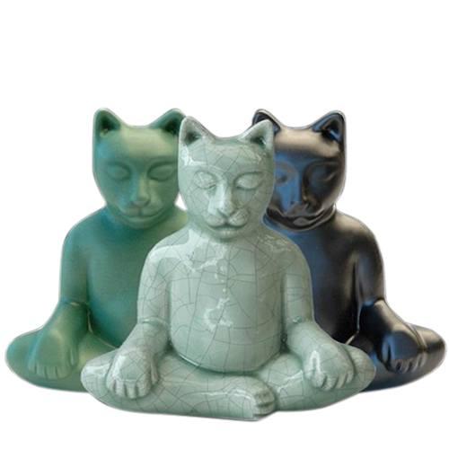Yoga Cat Cremation Urn