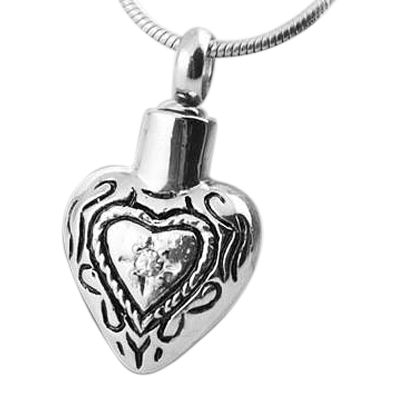 Heart in Heart Cremation Jewelry