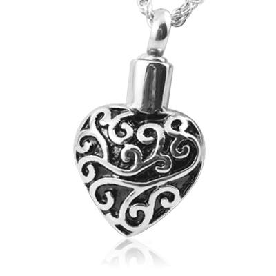 Filigree Heart Cremation Jewelry