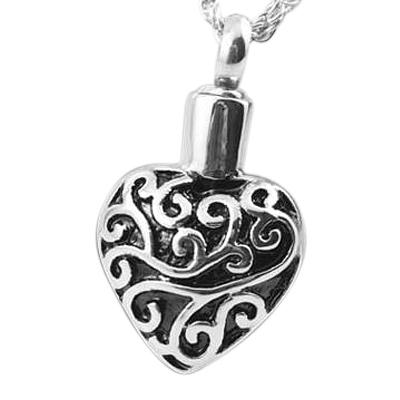 Filigree Heart Cremation Jewelry
