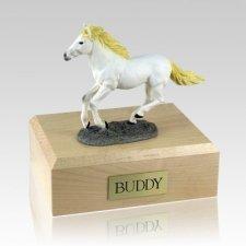 White Running Horse Cremation Urns