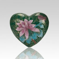 Green Copper Heart Cremation Urn