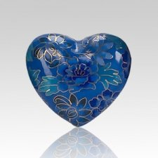 Blue Copper Heart Cremation Urn