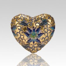 Gold Copper Heart Cremation Urn