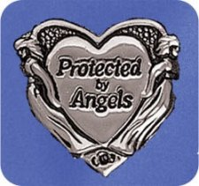 Protected By Angels Lapel Pin in Silver