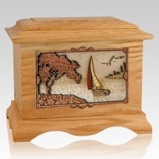Sailboat Oak Cremation Urn