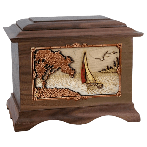 Sailboat Walnut Cremation Urn