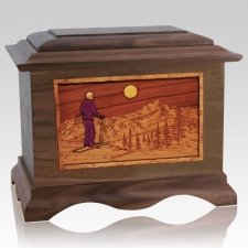Skiing Wood Cremation Urns