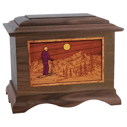 Skiing Walnut Cremation Urn