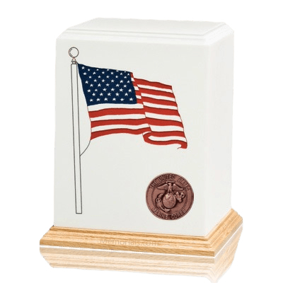 American Flag Marines Cremation Urn