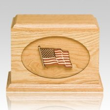 US Flag Oak Military Cremation Urn