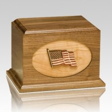 US Flag Walnut Military Cremation Urn