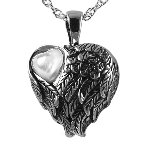 Wings Mother of Pearl Heart Pendant